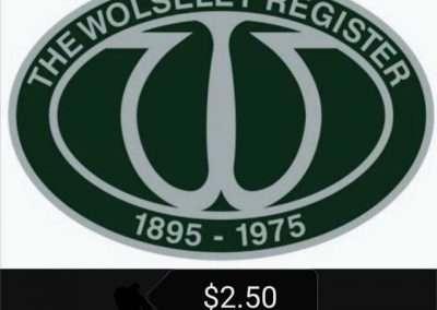Wolseley Car Club Wolseley Register Sticker $2.50